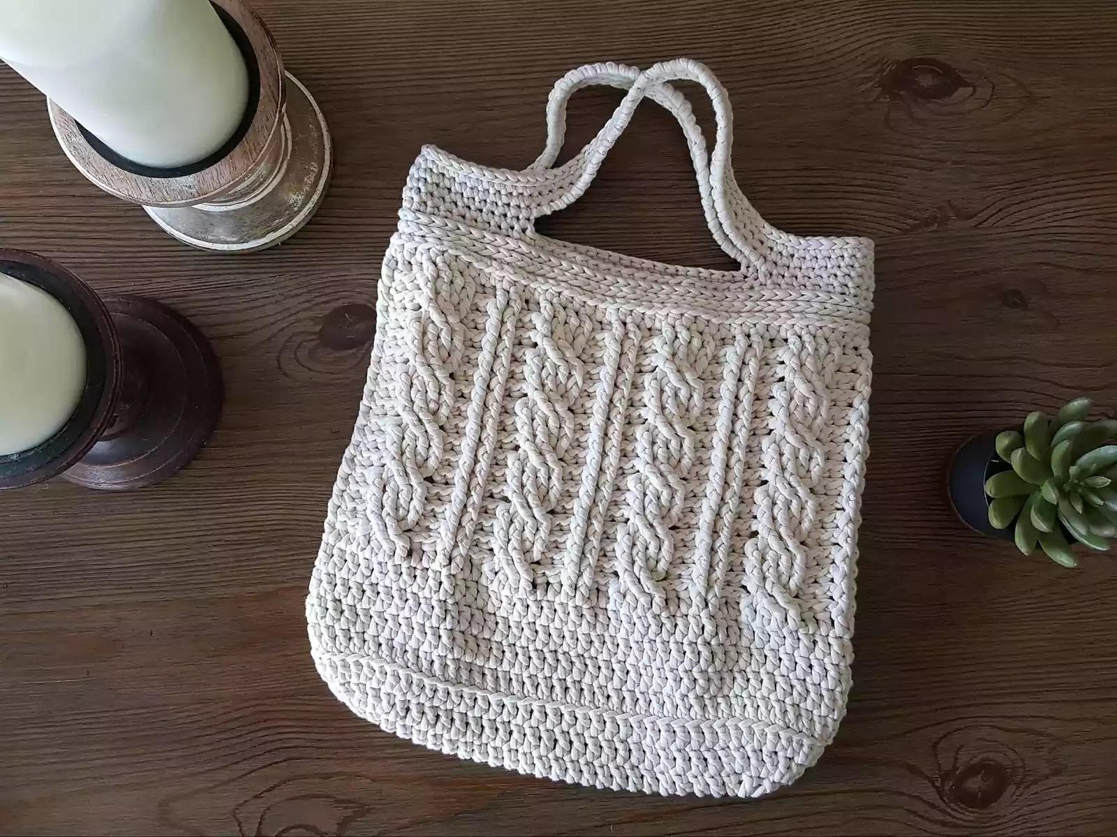 several beach cord of viscose Crochet bag steel grey Shopping